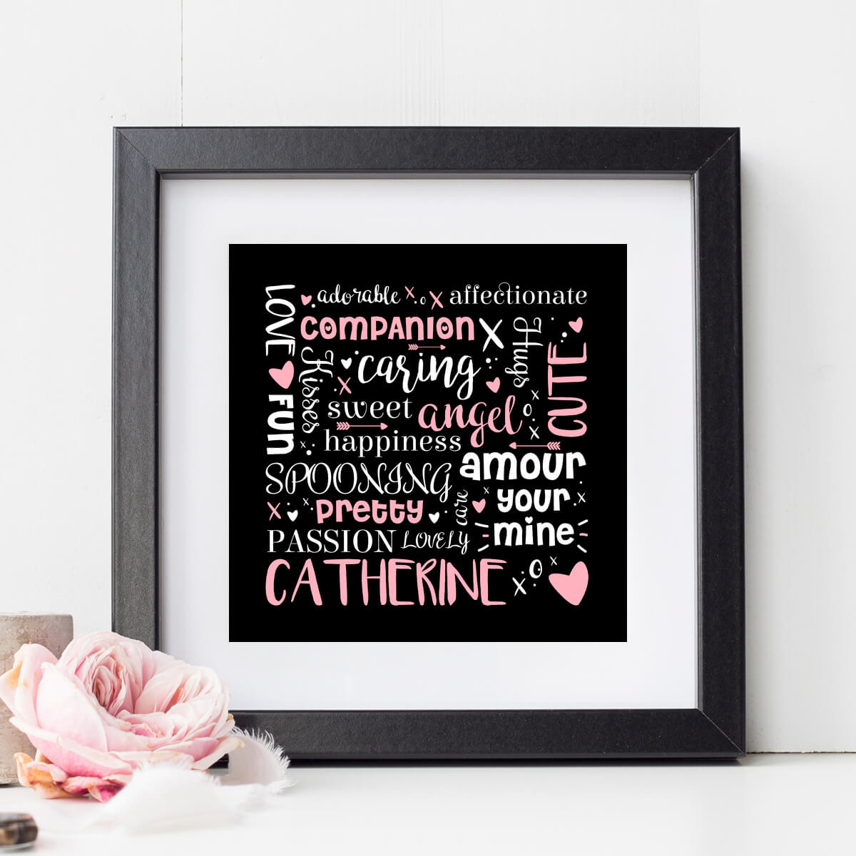 personalised Love Word Storm Wall Art