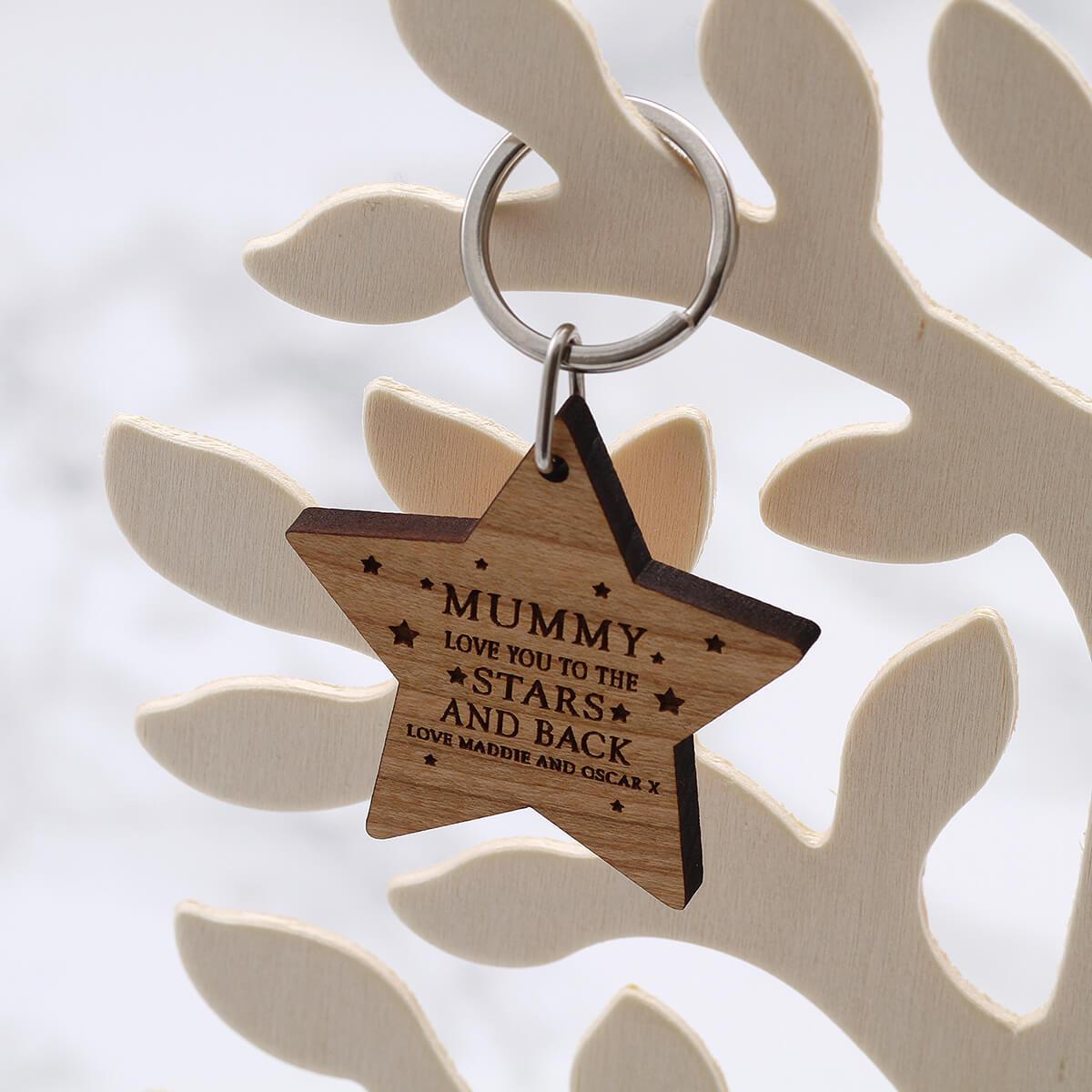 personalised star wood keyring