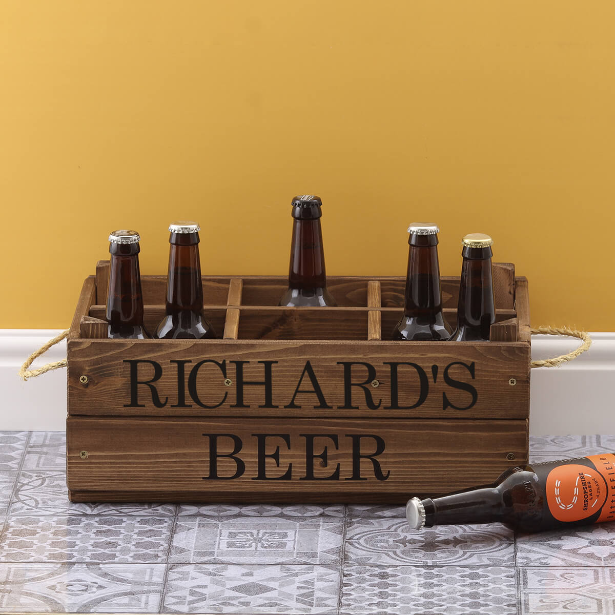 personalised Rustic 6 Bottle Beer Wooden Crate