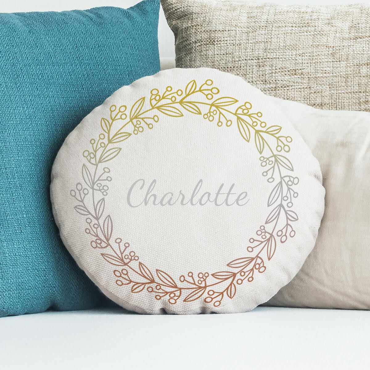 personalised Gold Silver Bronze Name Round Cushion 18""