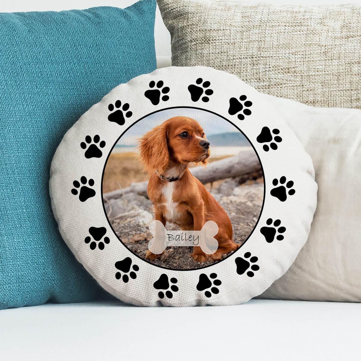 """personalised Dog Paw Round Photo Cushion 18"""""""