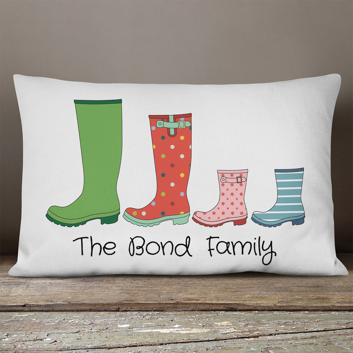 personalised Family Wellies Rectangle Cushion