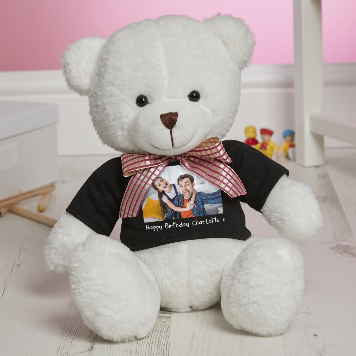 personalised Photo White Millie Bear