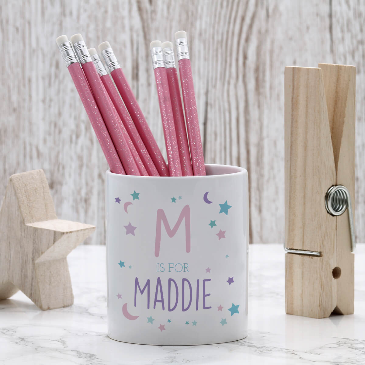 personalised moon and star pen pot