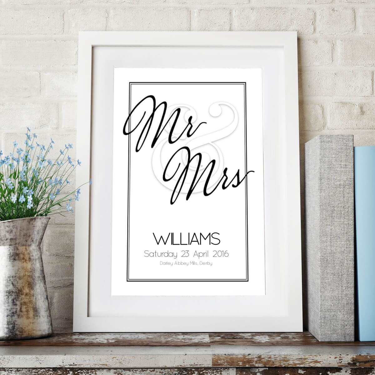 Personalised Mr & Mrs Wedding Date Wall Art