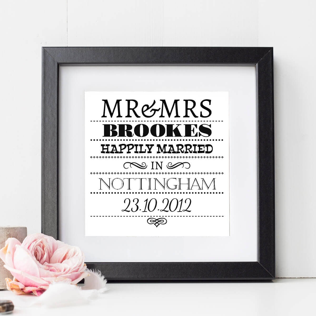 Personalised Happily Married Wall Art