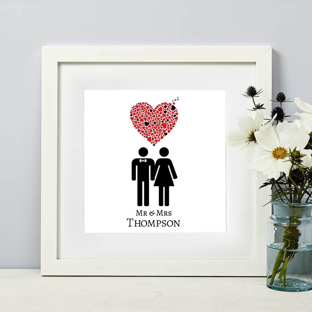 Personalised Mr & Mrs Heart Wall Art