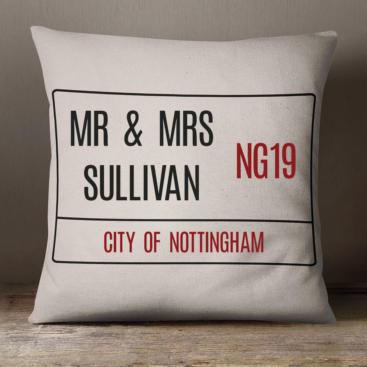 personalised Street Sign Cotton Cushion