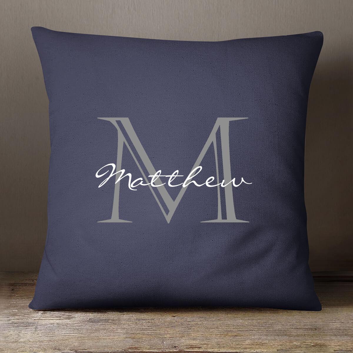 "personalised Navy Monogram Cushion 18x18"""