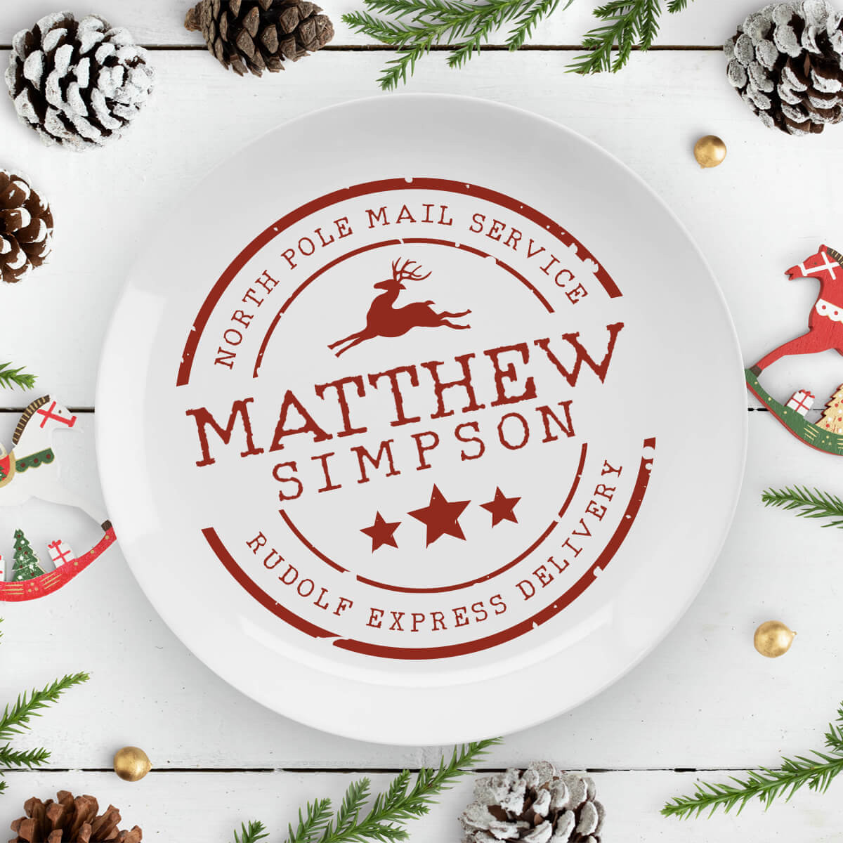 personalised north pole stamp plate