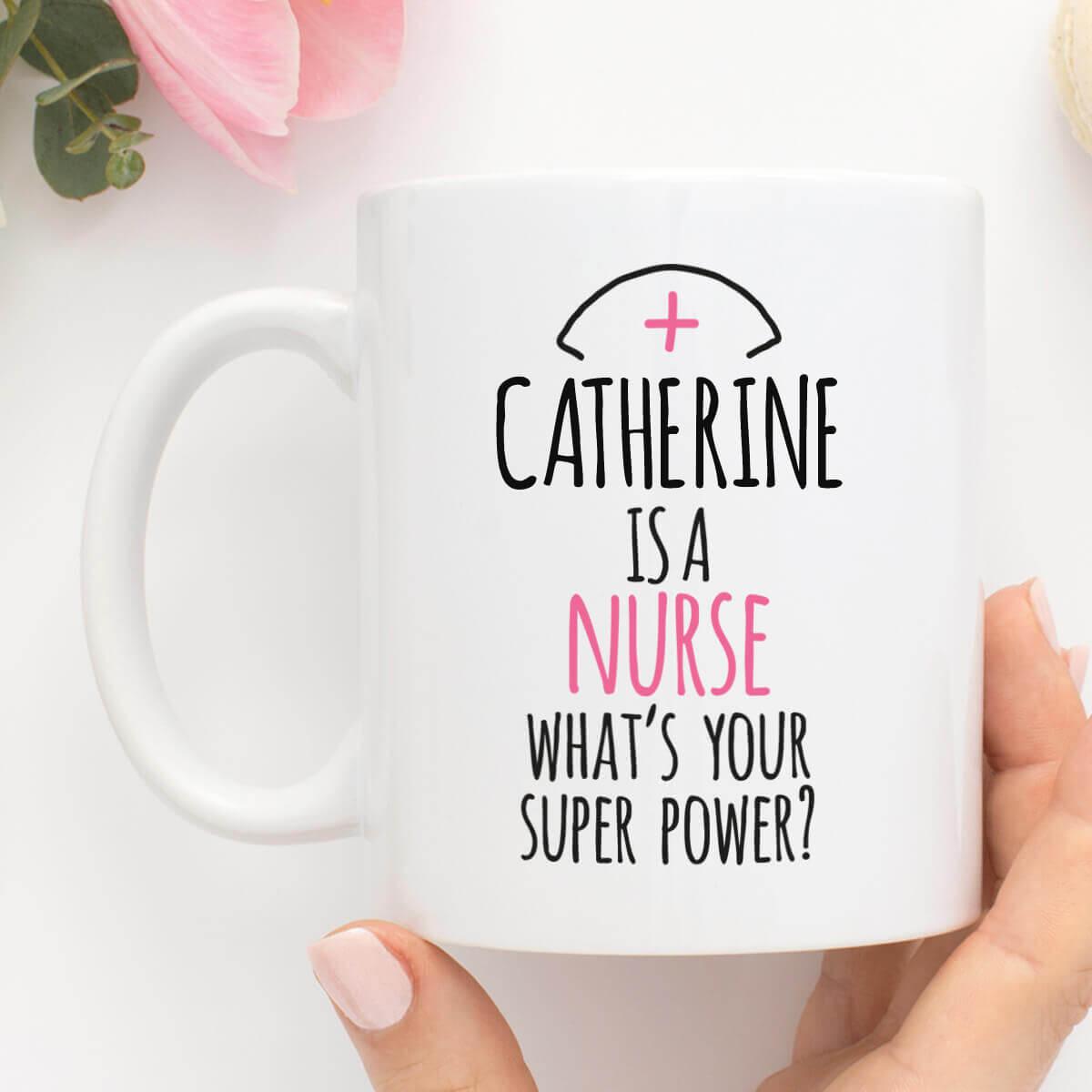personalised Nurse Super Power Durham Mug