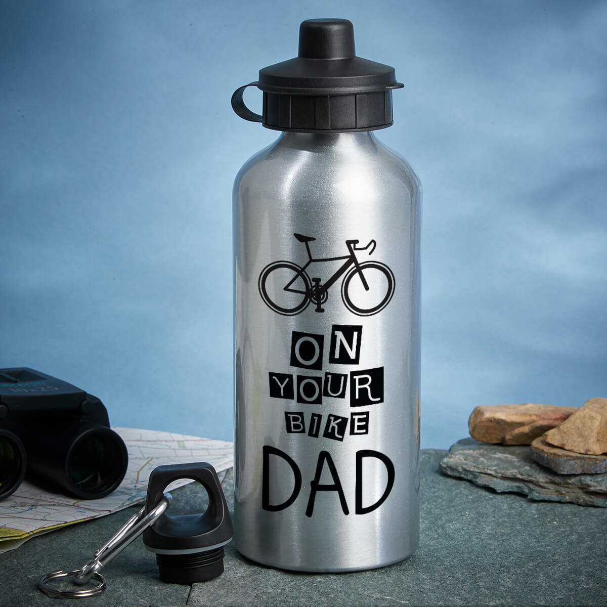 personalised on your bike silver water bottle