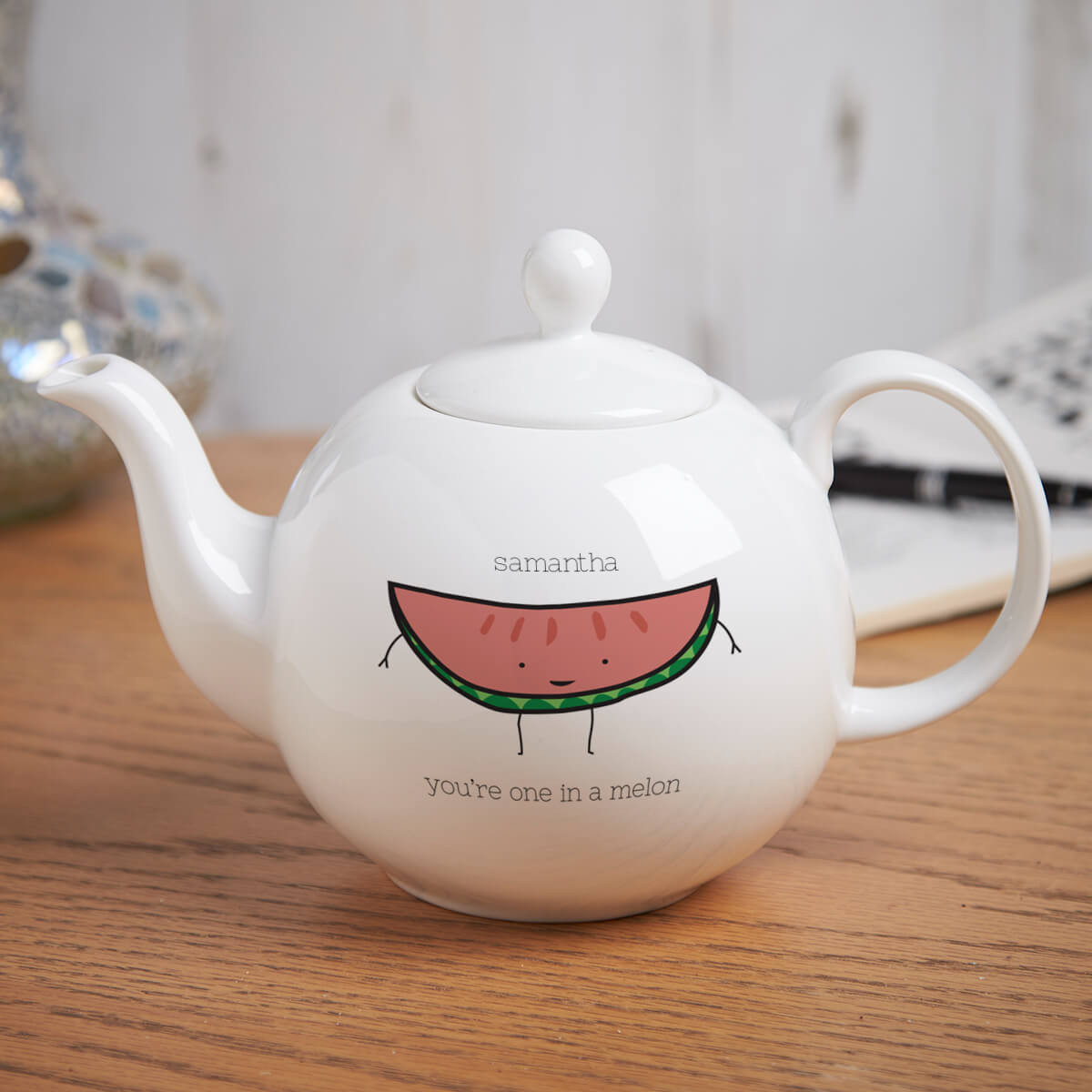 personalised One In A Melon Pot Belly Teapot