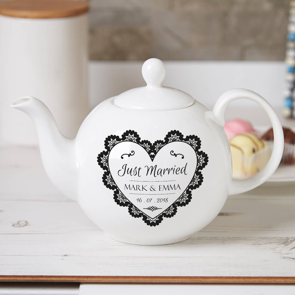 personalised ormate just married teapot