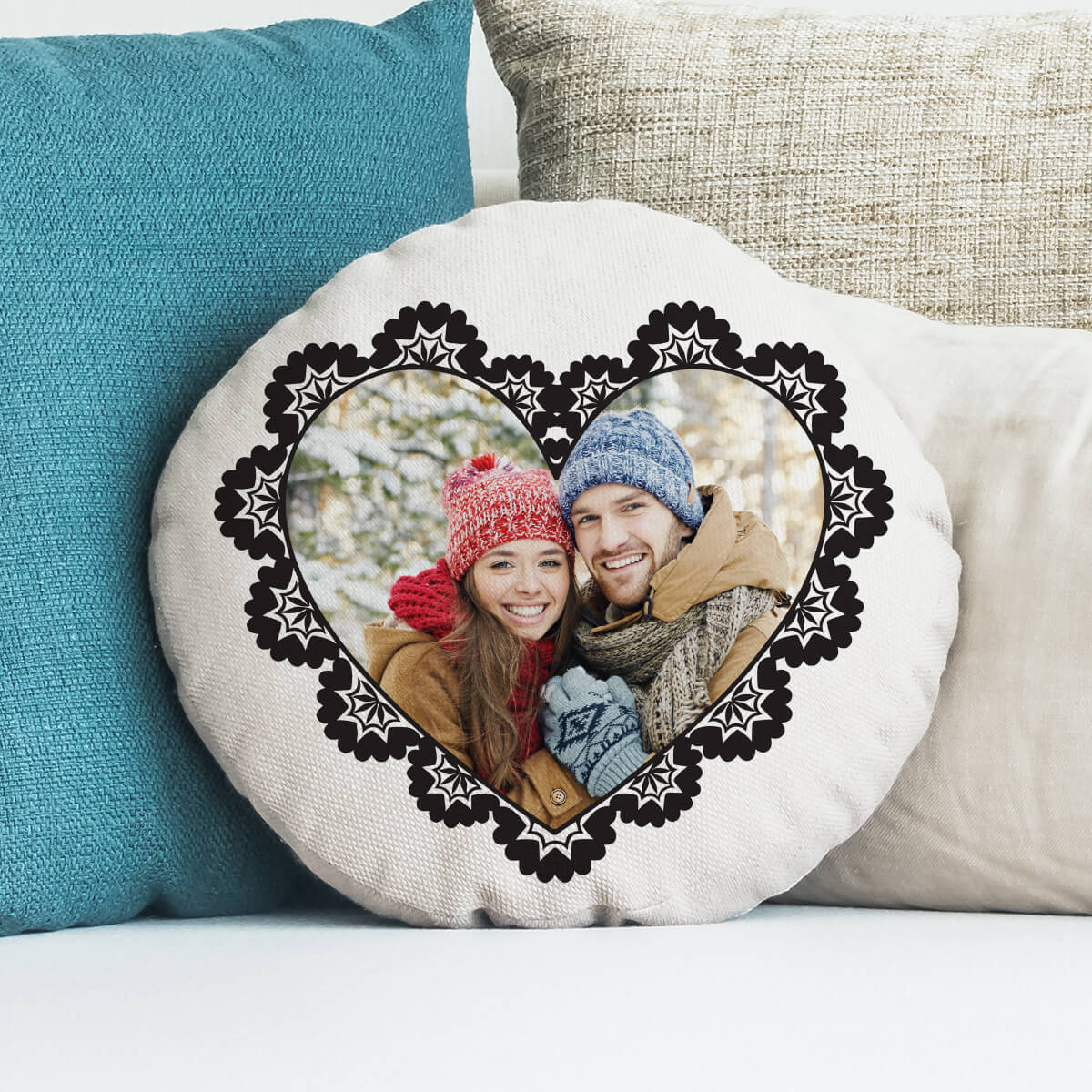 personalised Ornate Heart Round Photo Cushion 18""
