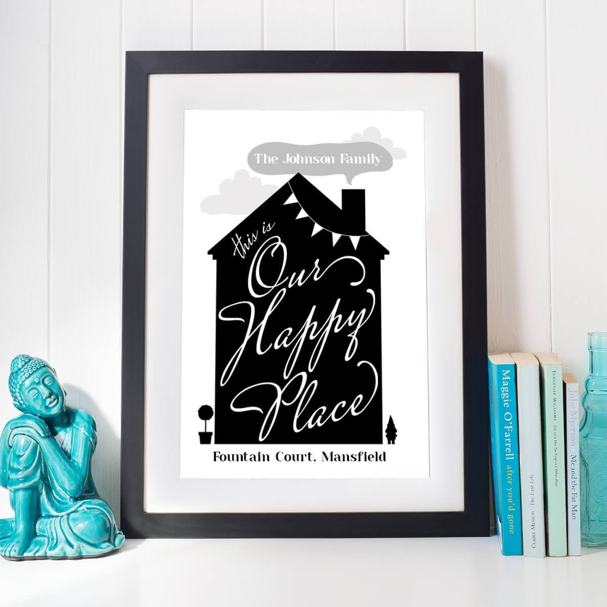 personalised Our Happy Place Wall Art