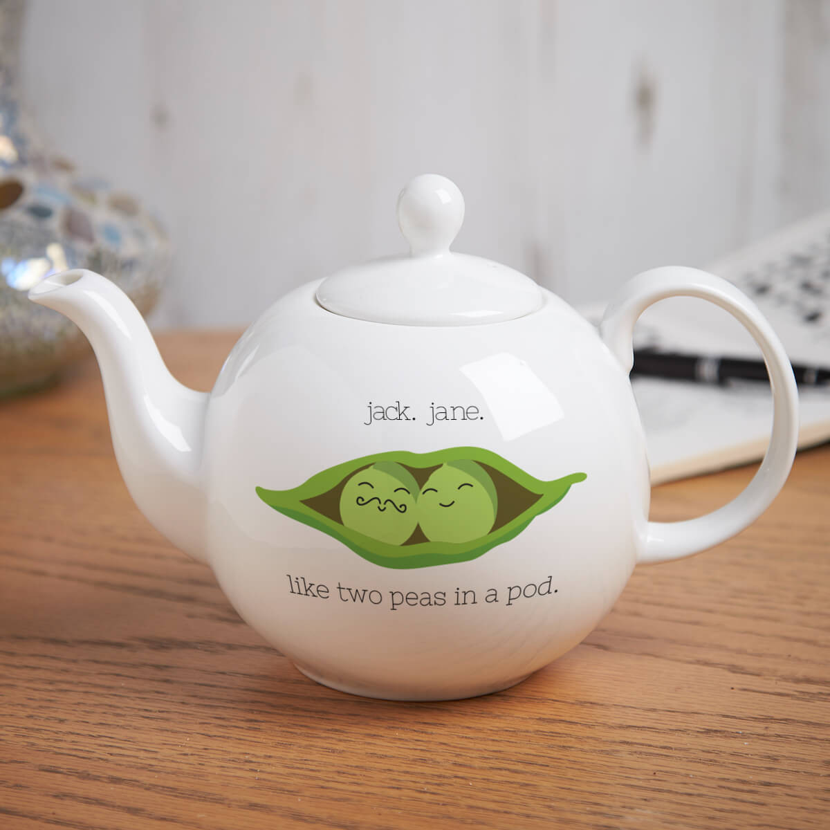 Personalised Peas In A Pod Pot Belly Teapot