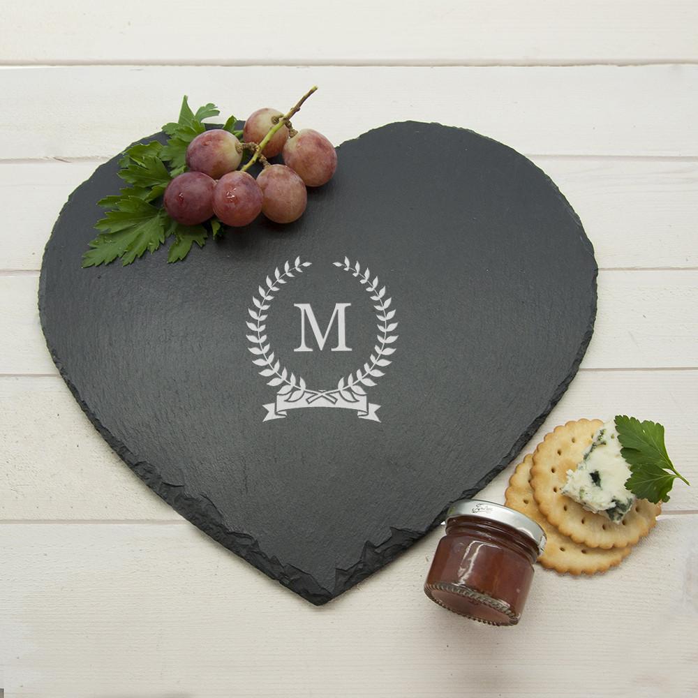 personalised Monogrammed Wreath Heart Slate Cheese Board