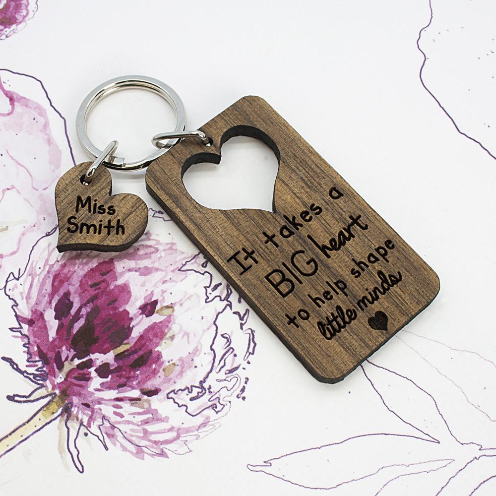 personalised Big Heart Little Minds Keyring