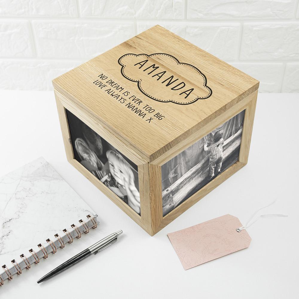 personalised Baby Name Oak Photo Cube