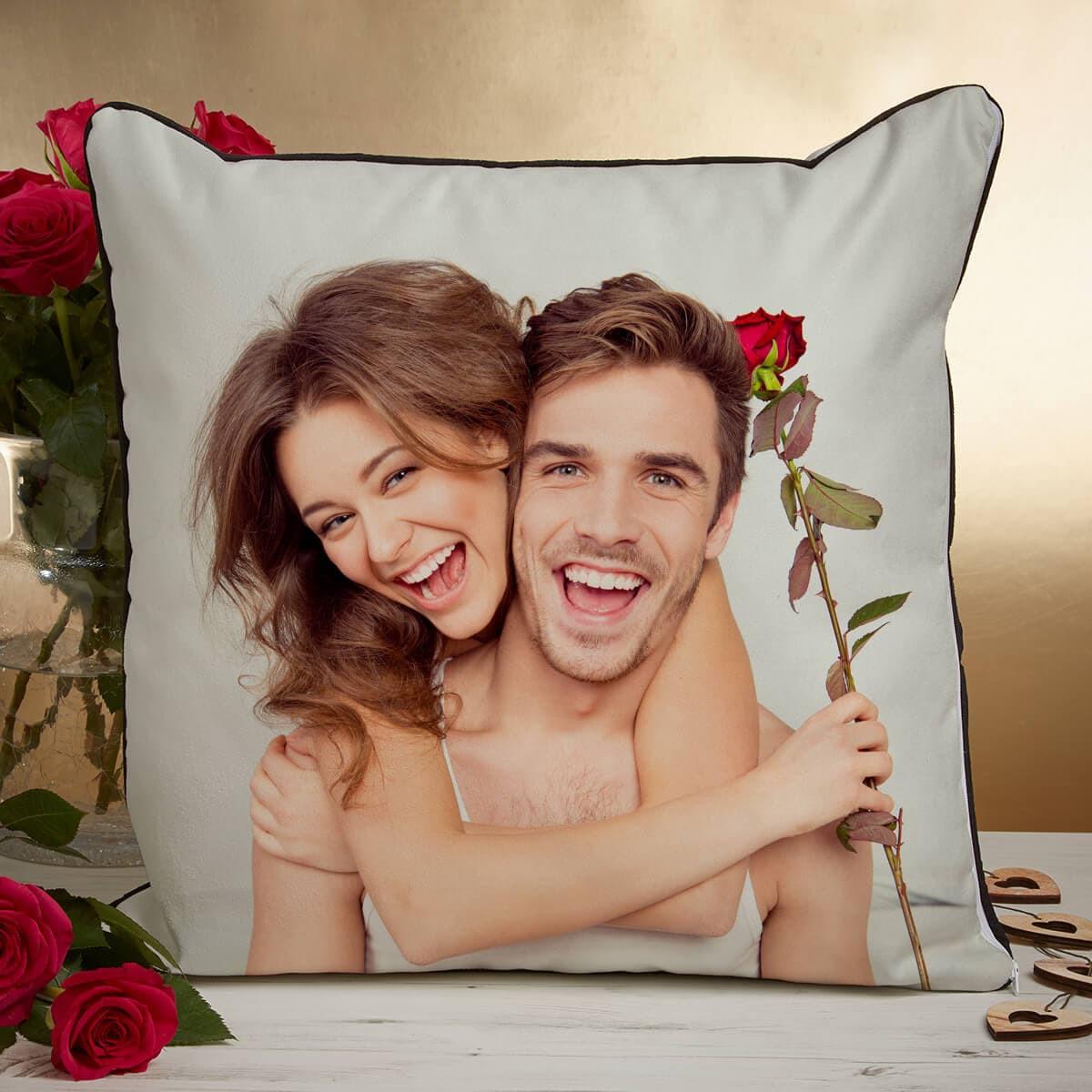 Personalised Couple Photo Piped Edge Cushion