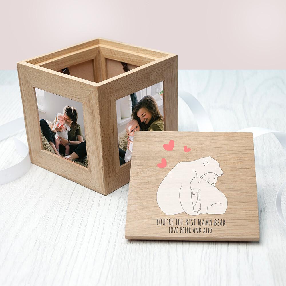 personalised The Best Mama Bear Oak Photo Cube