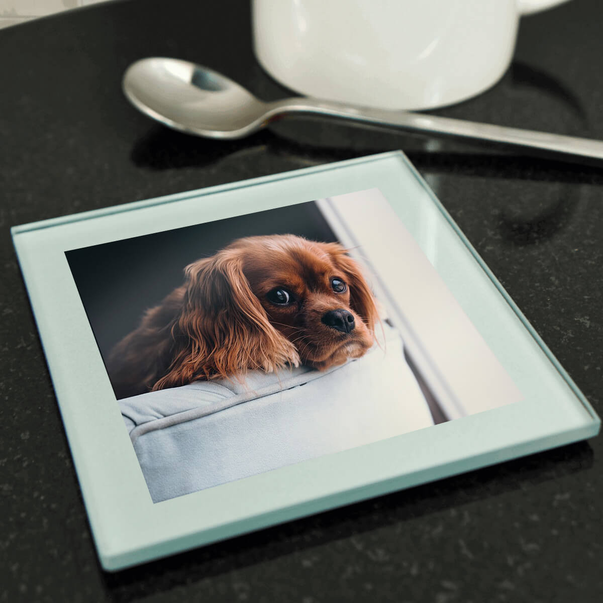 Personalised Glass Photo Coaster (Silver)