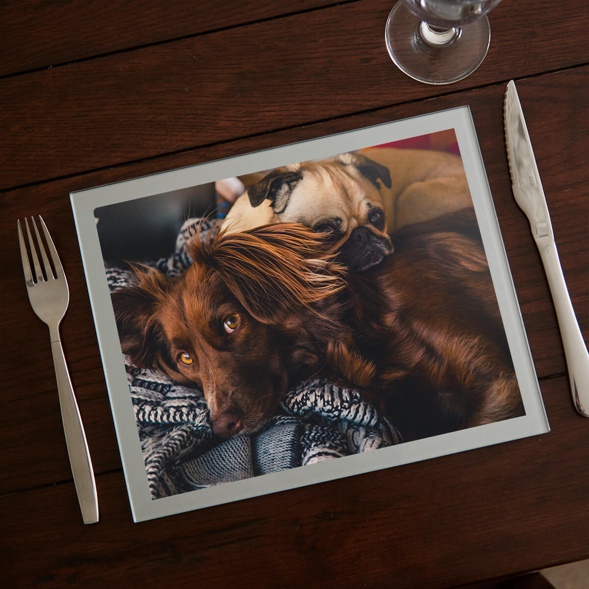 personalised silver pet photo table mat
