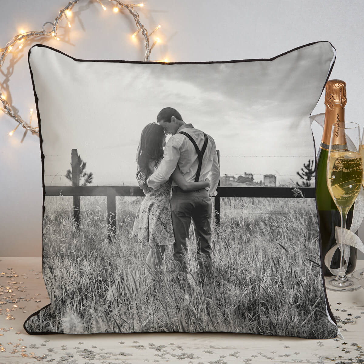 personalised anniversary photo piped cushion