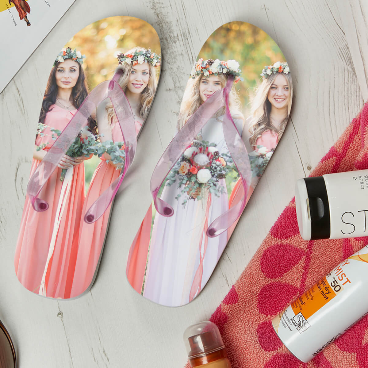 personalised Ladies Photo Flip Flops