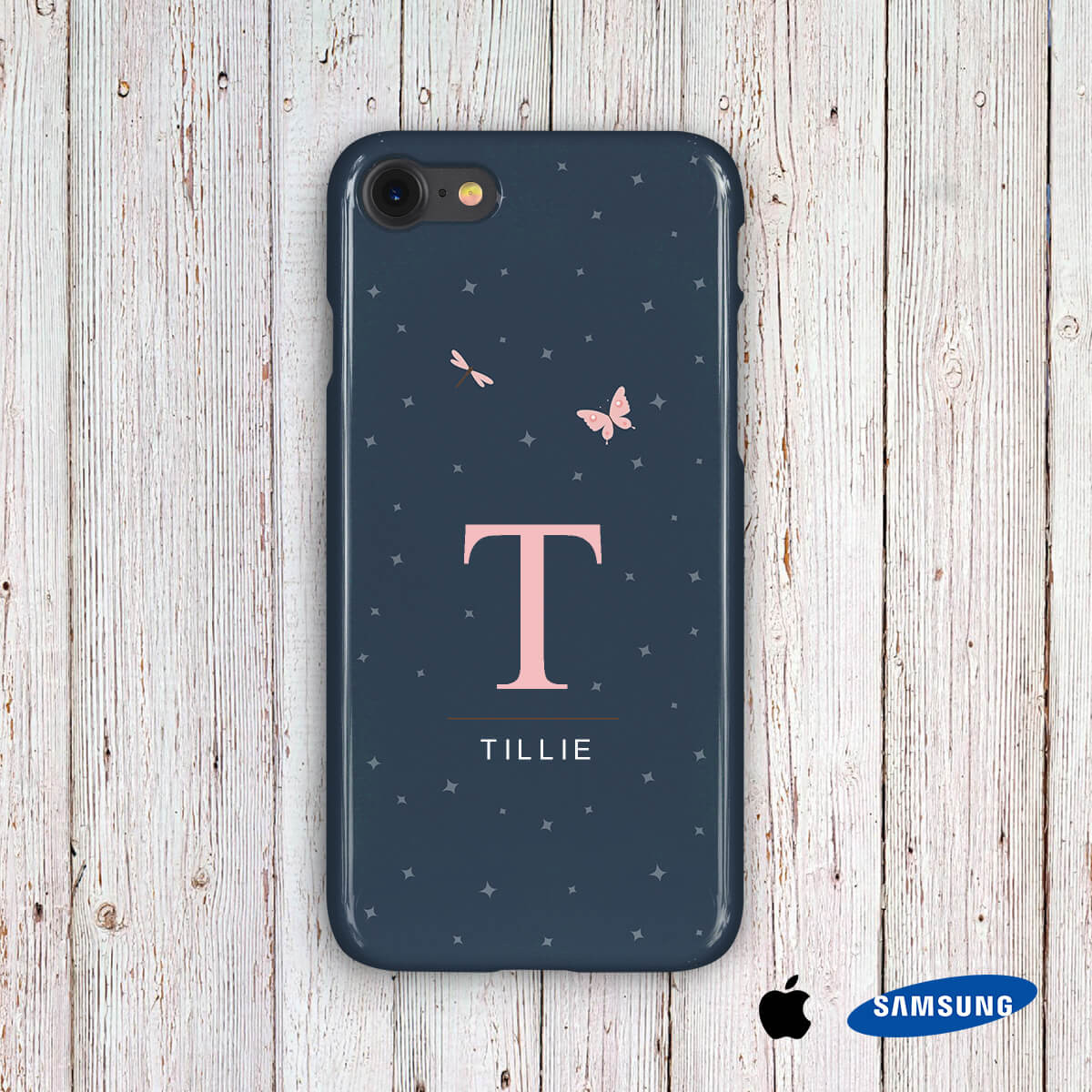 personalised Pink Butterfly Phone Case