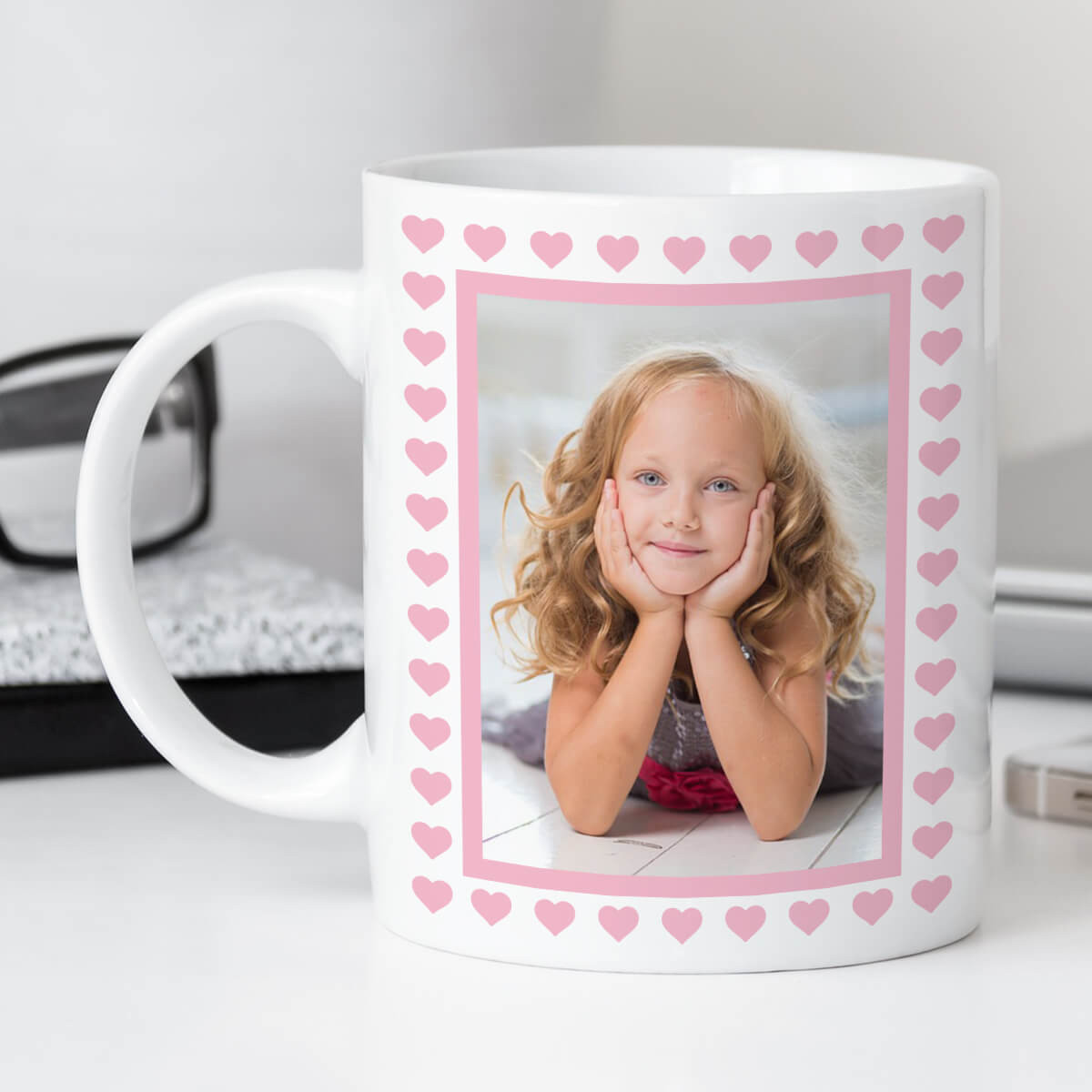 personalised Pink Hearts Border Photo Mug