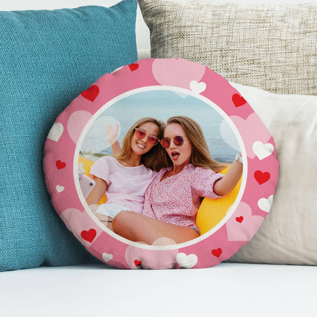 personalised Pink Hearts Round Photo Cushion 18""