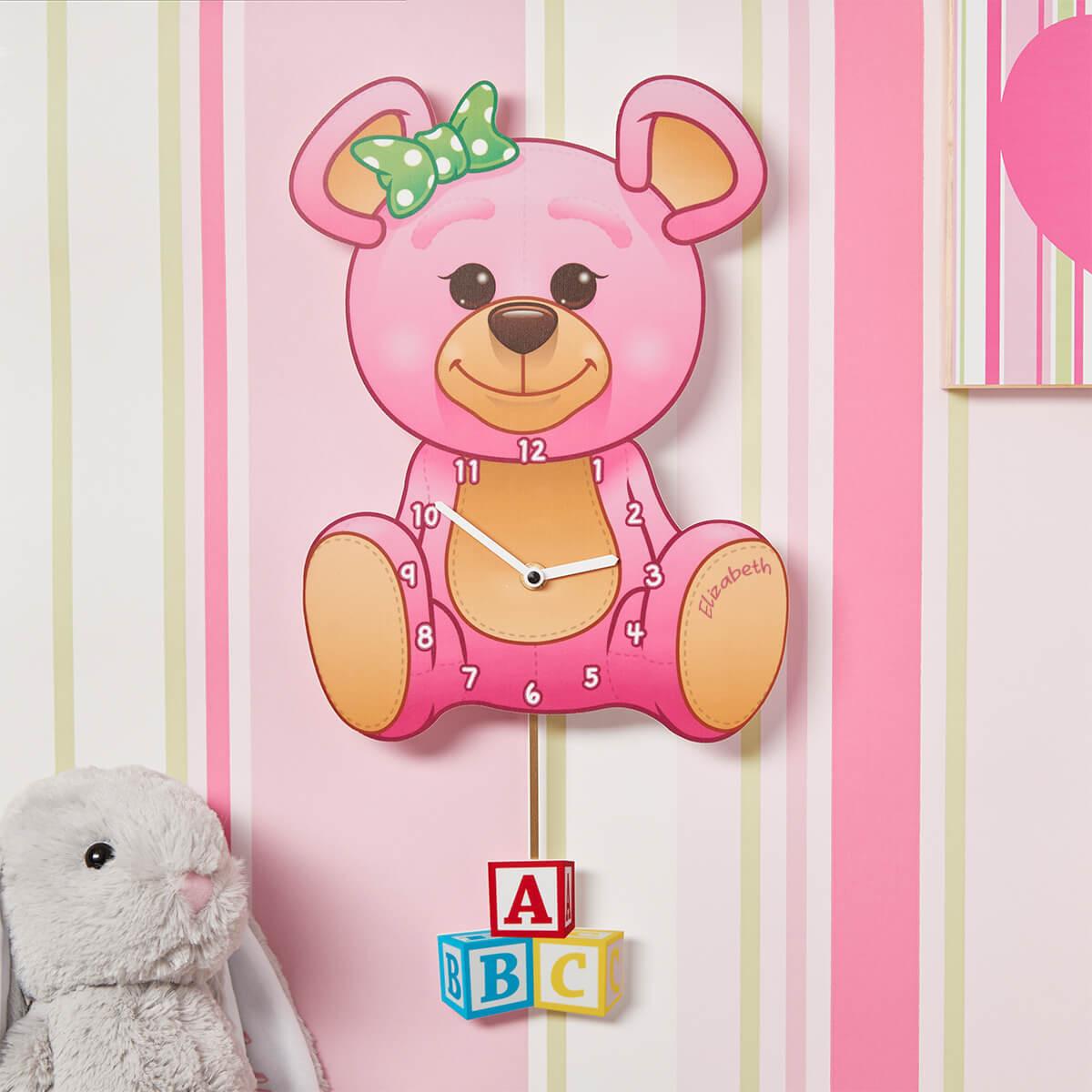 personalised Pink Teddy Pendulum Clock