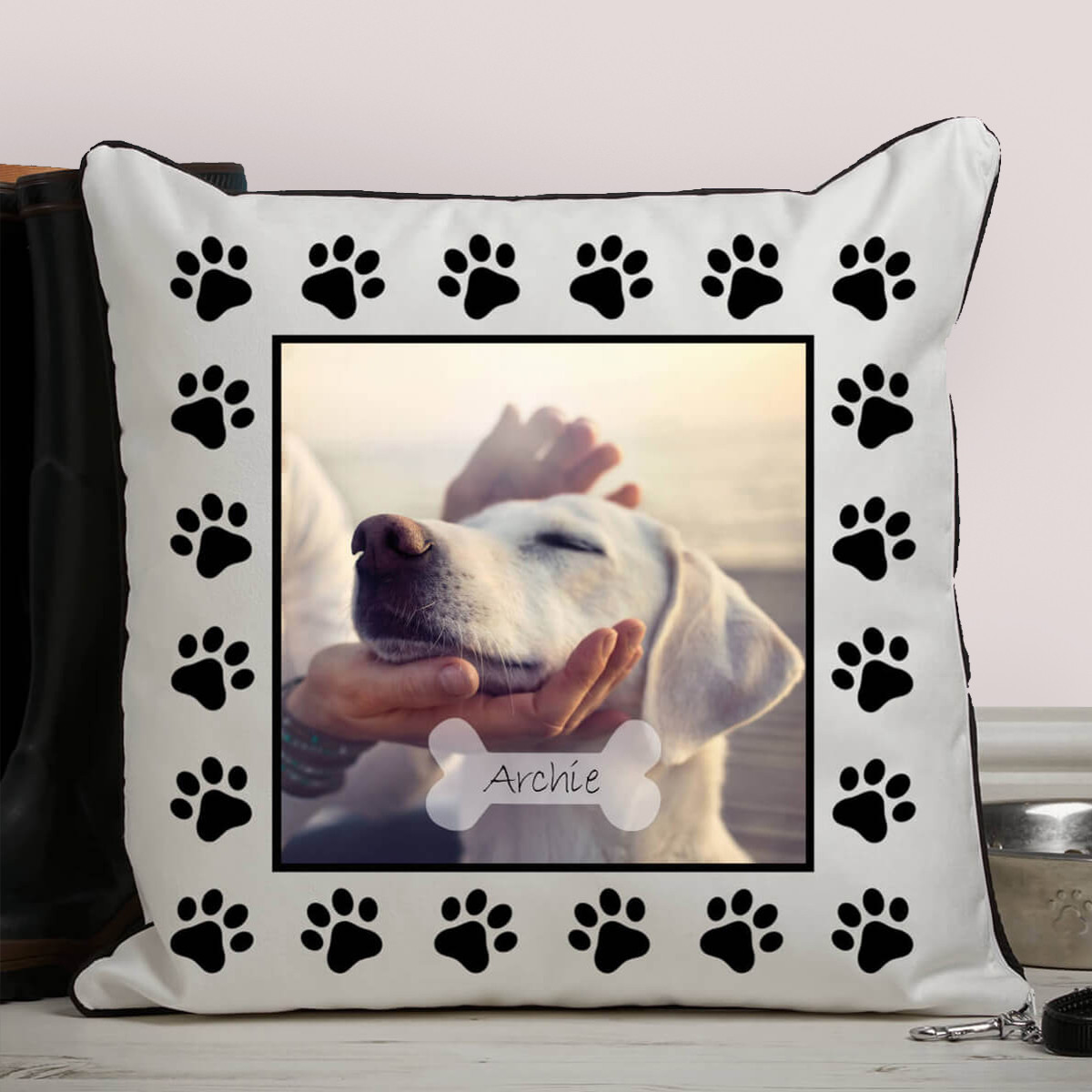 personalised Dog Paw Piped Photo Cushion