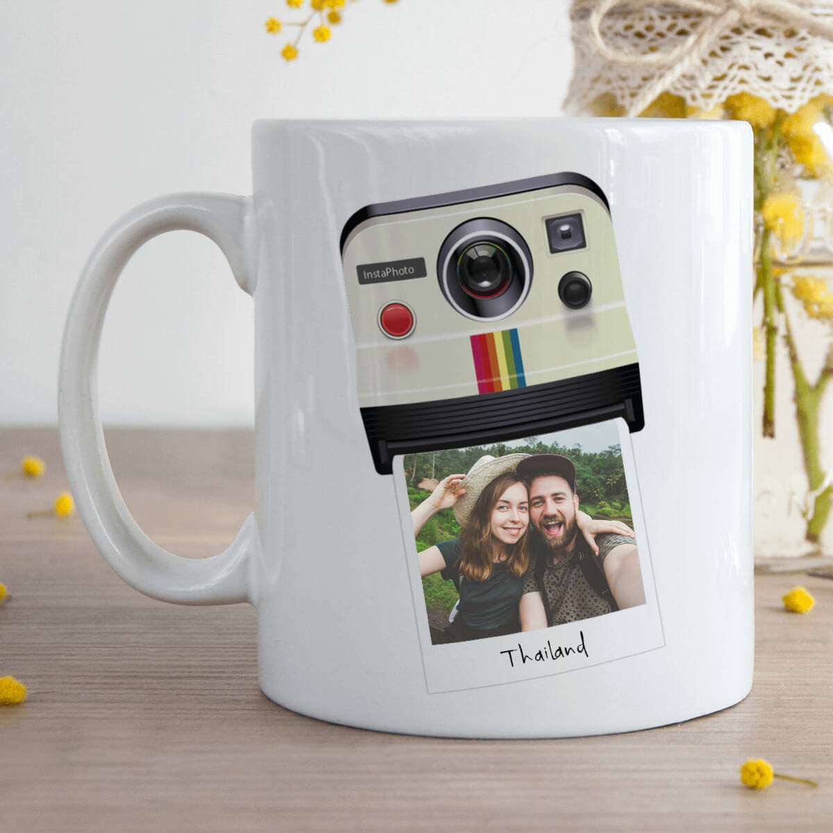 Personalised Polaroid Camera Photo Upload Durham Mug