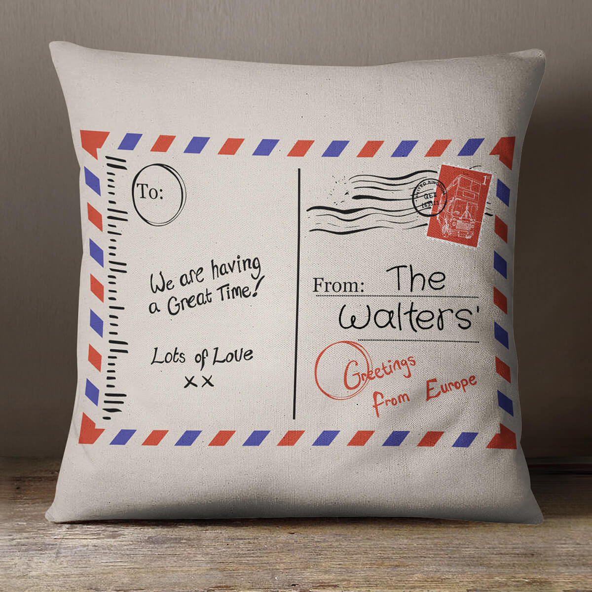 personalised Family Postcard Cotton Cushion