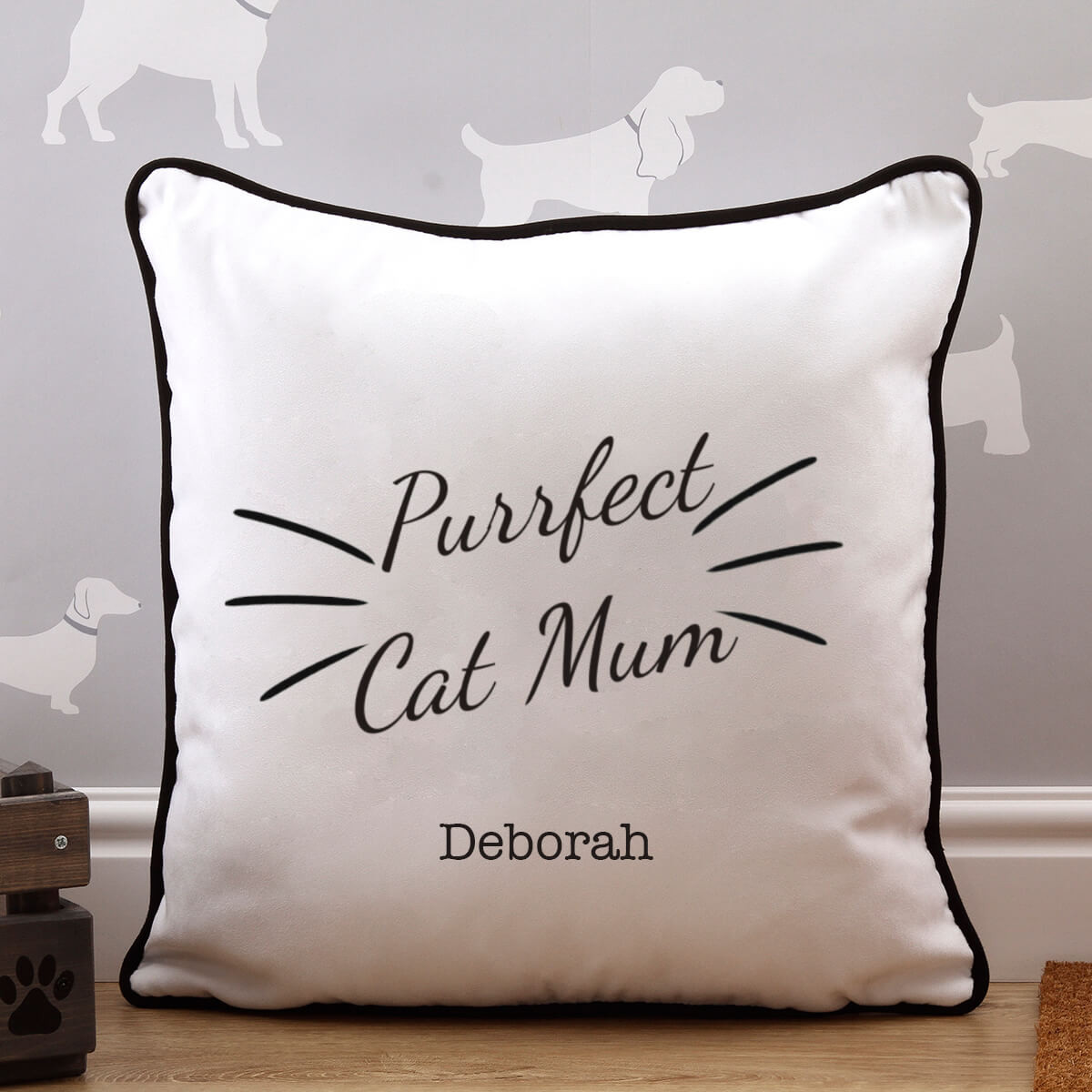 personalised Purrfect Cat Mum Piped Cushion