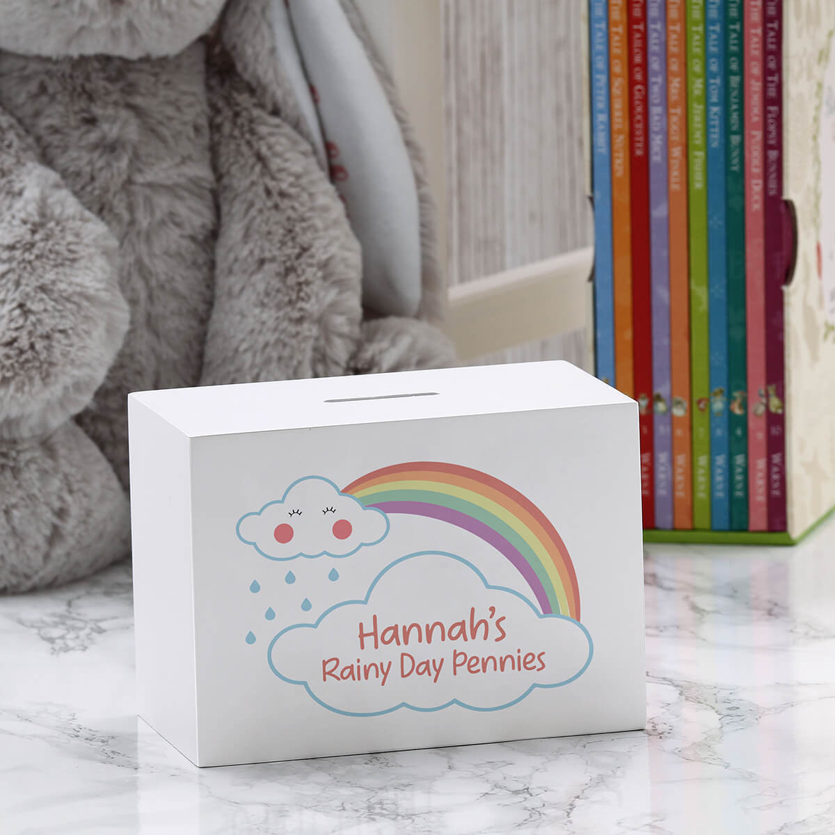 personalised Rainy Day Wooden Money Box