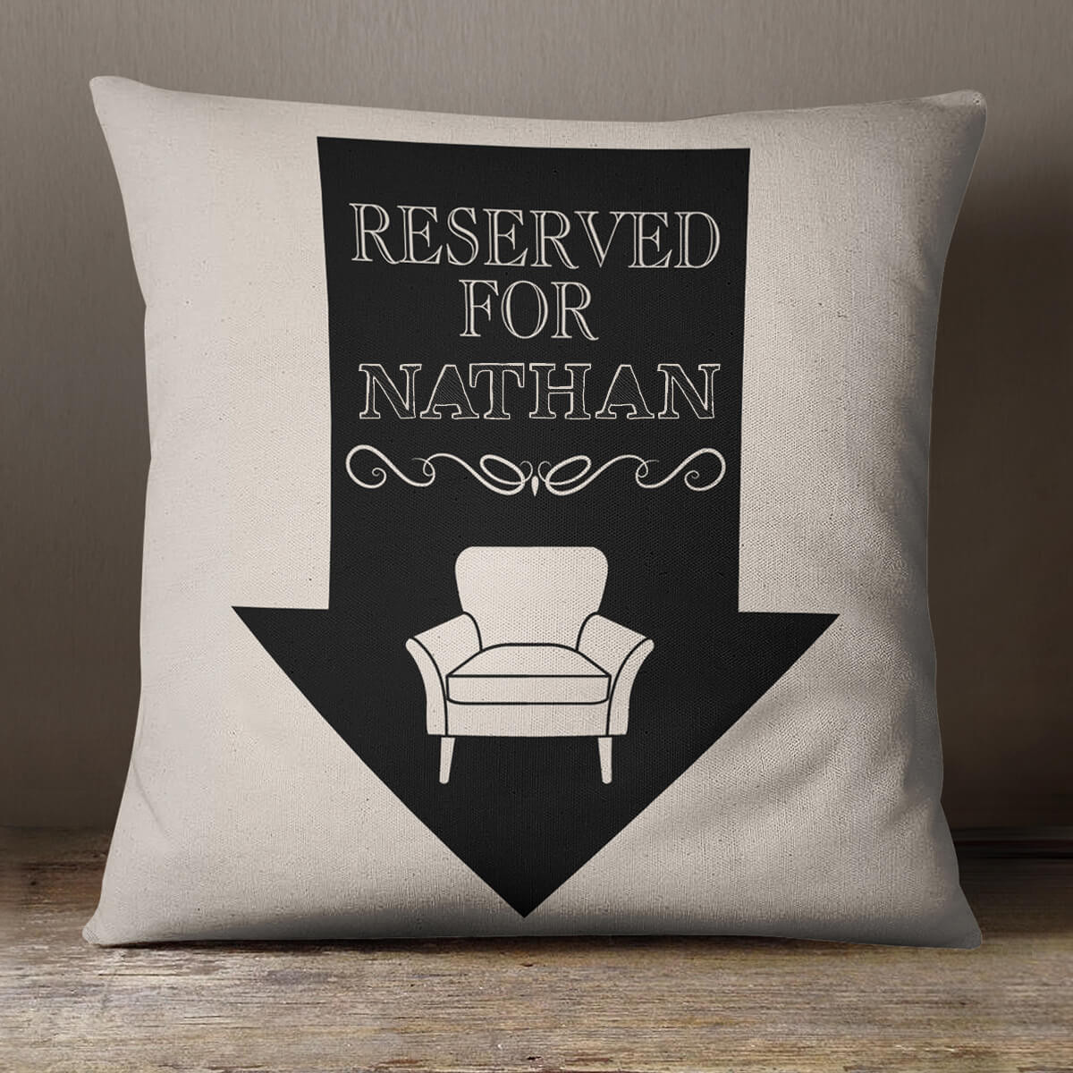 personalised Reserved Arrow Cotton Cushion