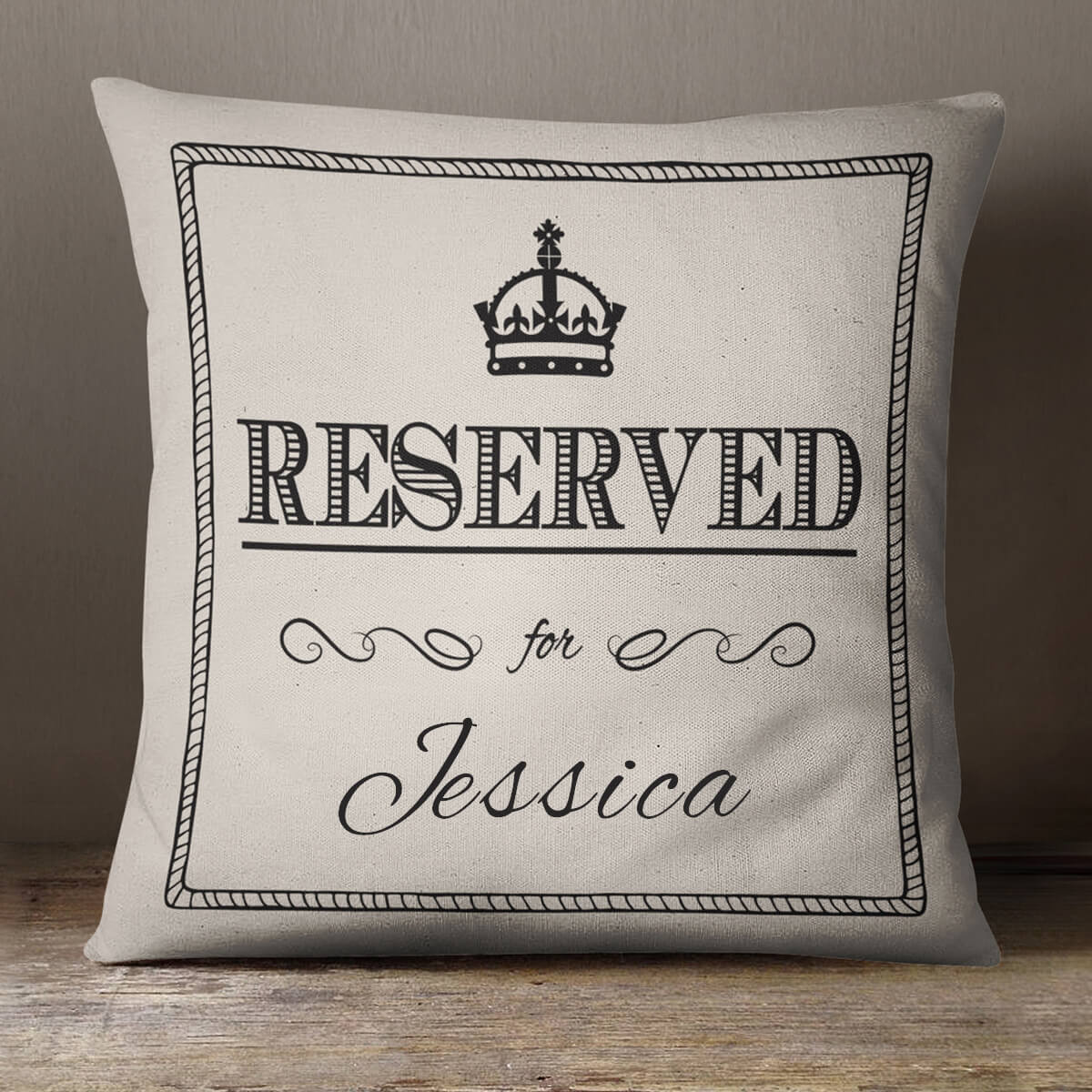 ;personalised Reserved For Cotton Cushion