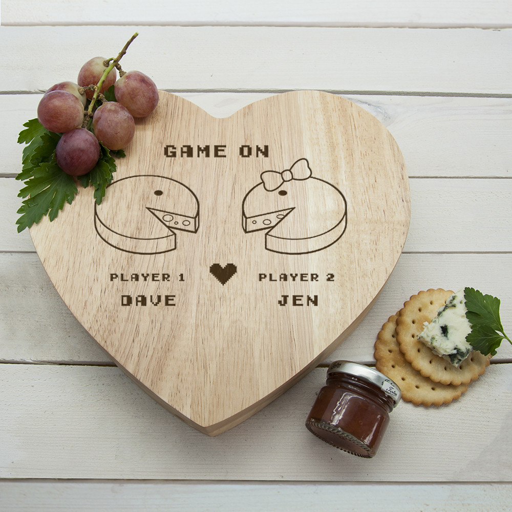 personalised Retro Heart Cheese Board