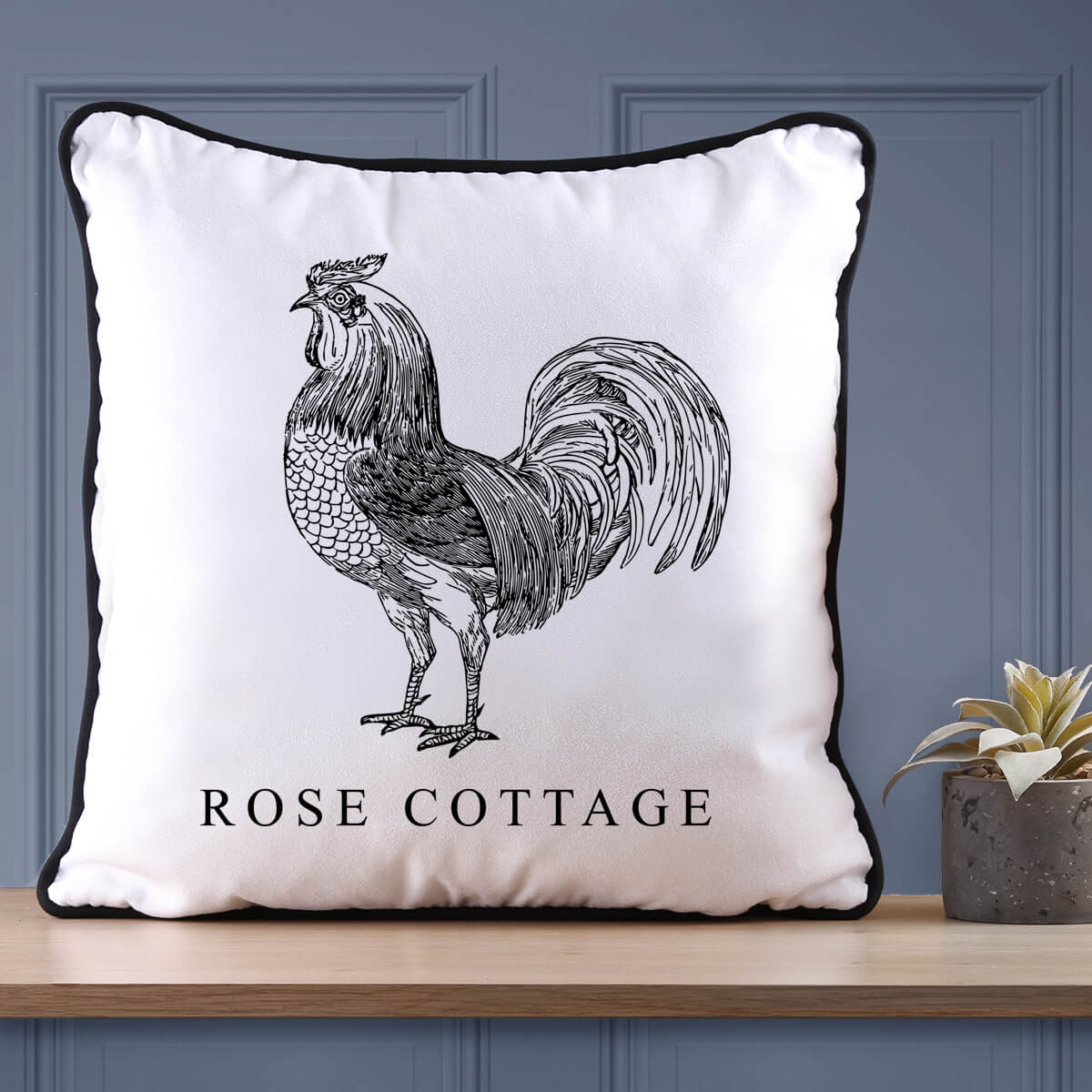 Personalised Rooster Piped Cushion