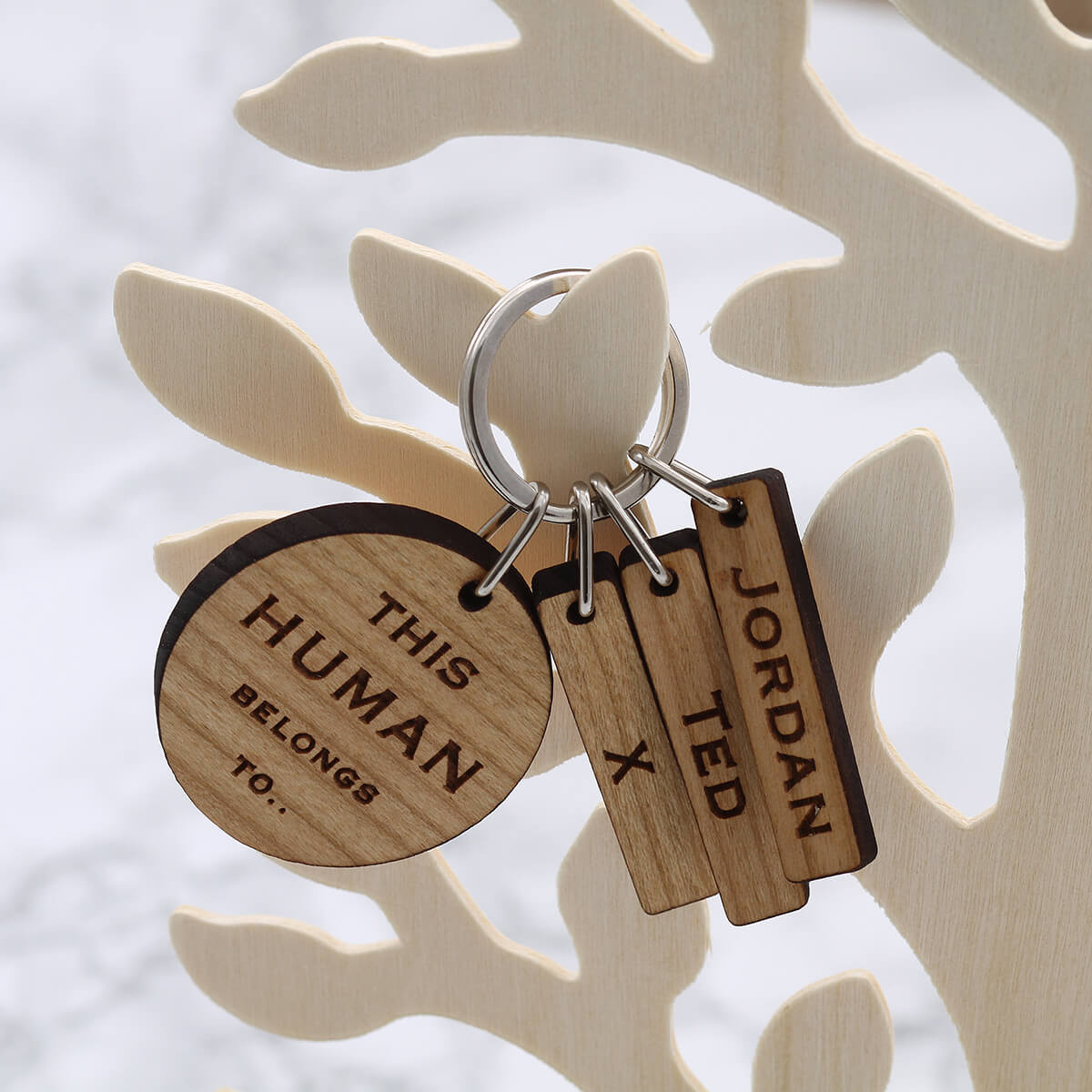 personalised Wood Round Keyring with Tabs