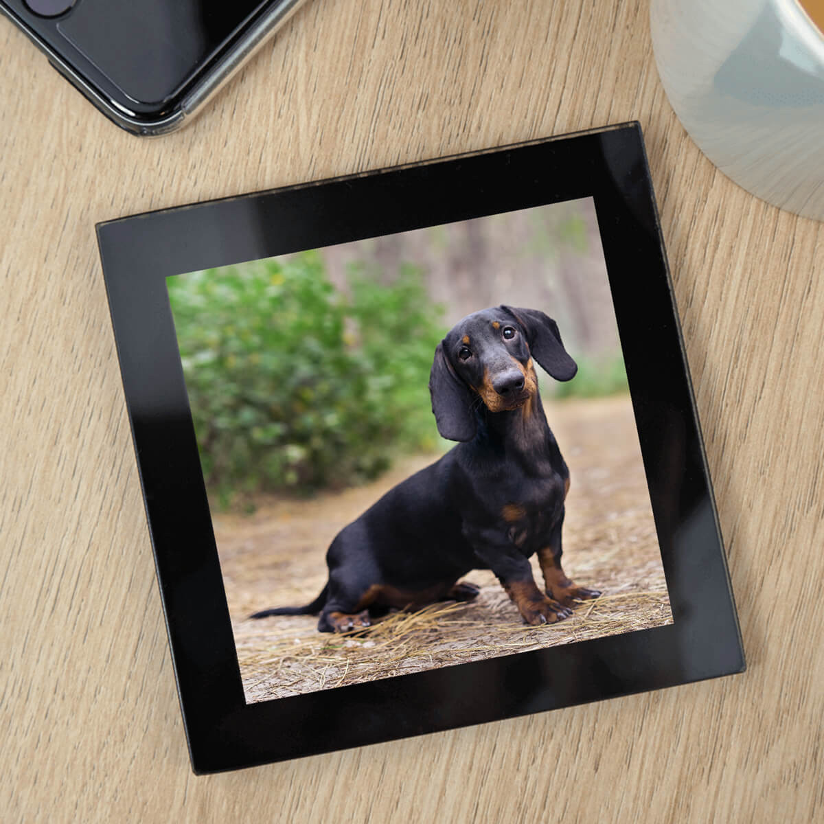 personalised Black Glass Photo Coaster
