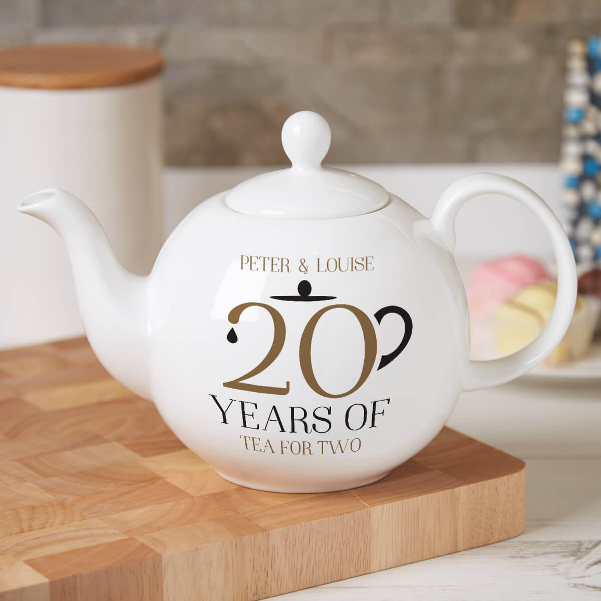 personalised 20 Years Tea For Two Pot Belly Teapot