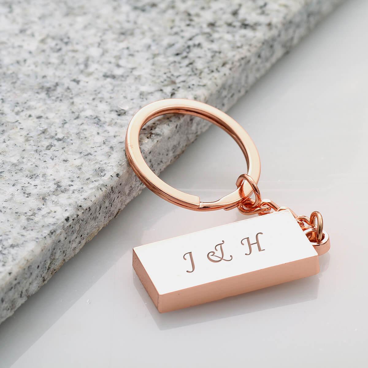 personalised Rose Gold Rectangle Keyring