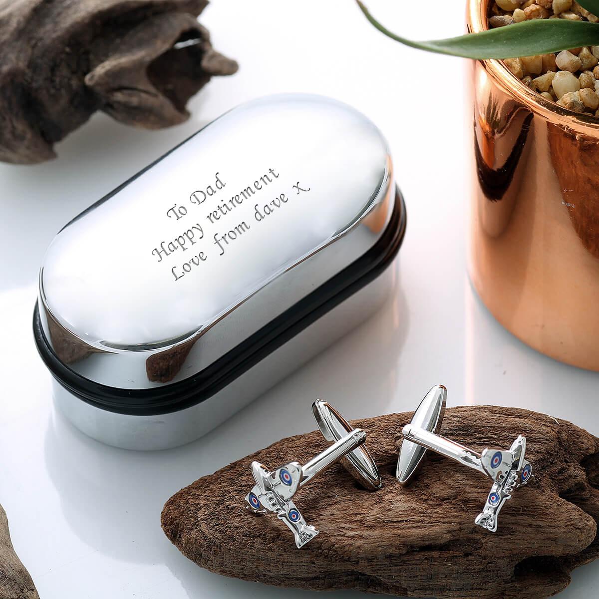 personalised Spitfire Cufflinks Gift Set