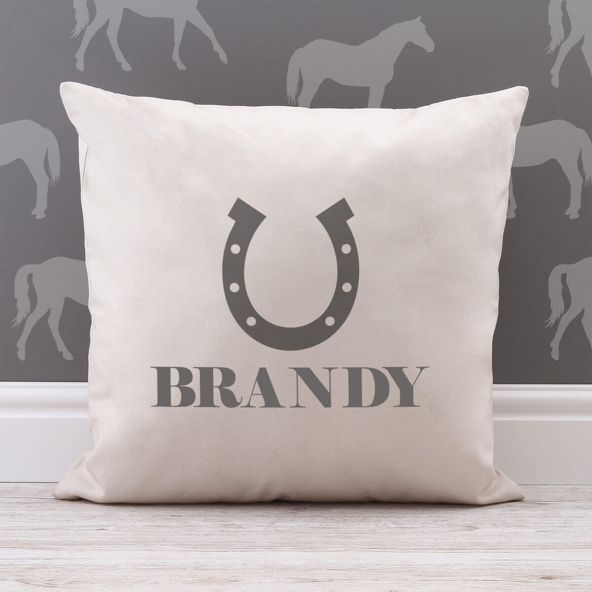 personalised Horse Shoe Cotton Cushion