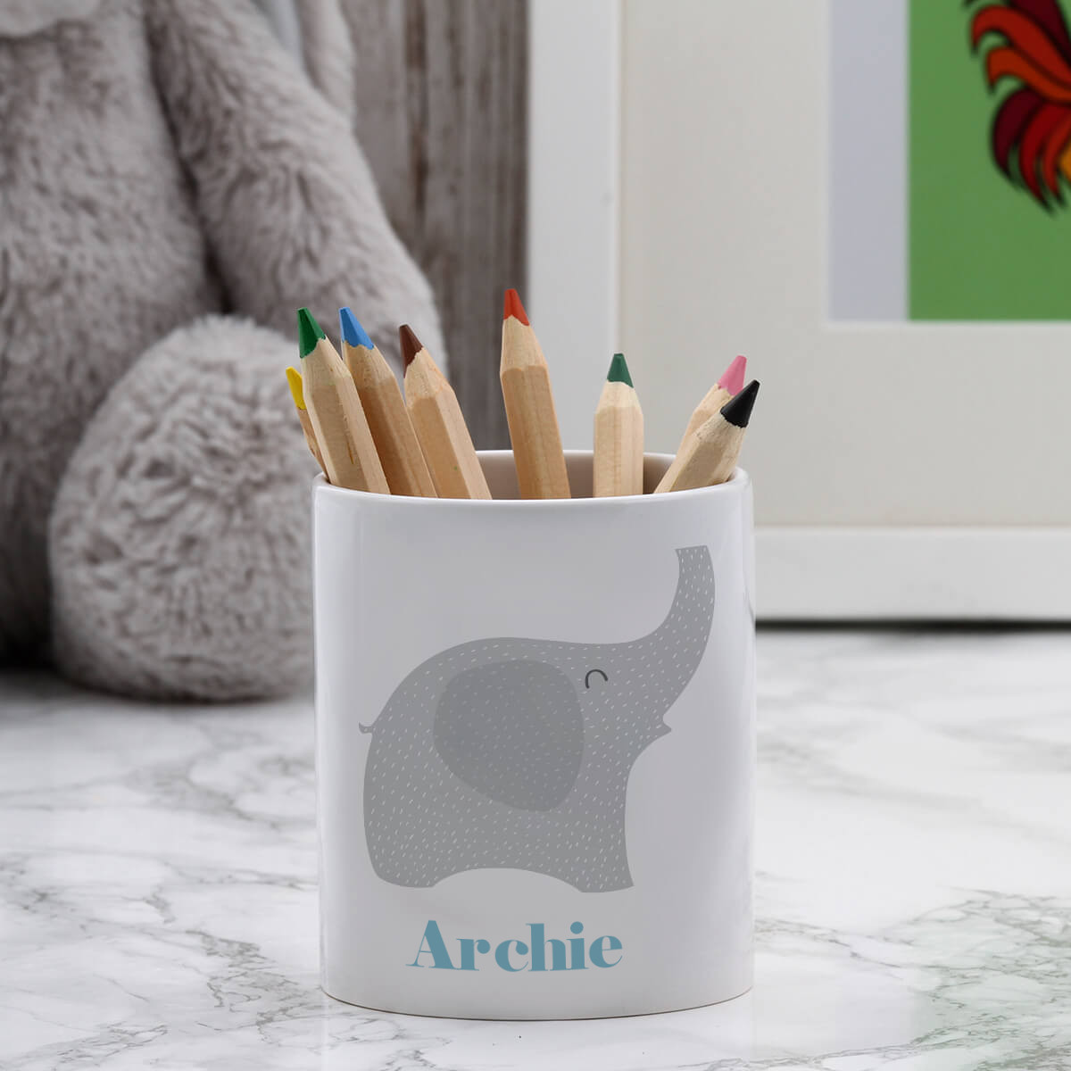 personalised Blue Elephant Pen Pot